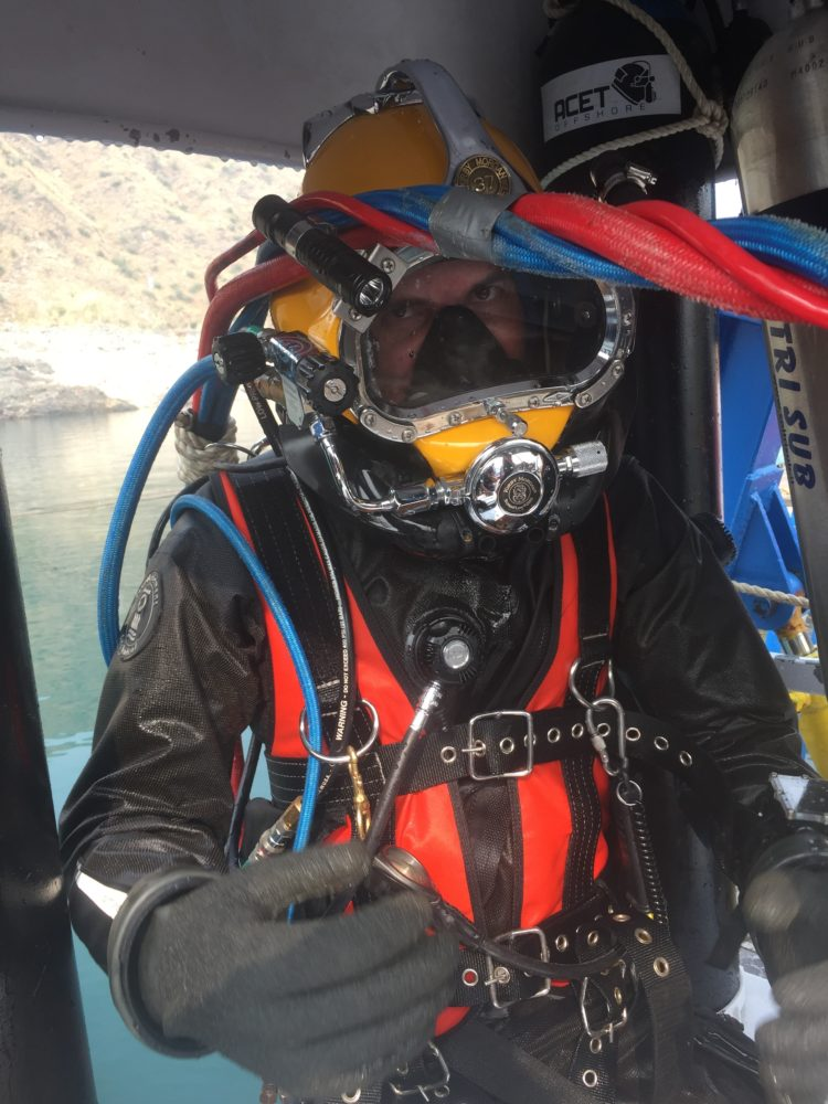 Our divers are technical divers trained on rebreathers and hard helmets