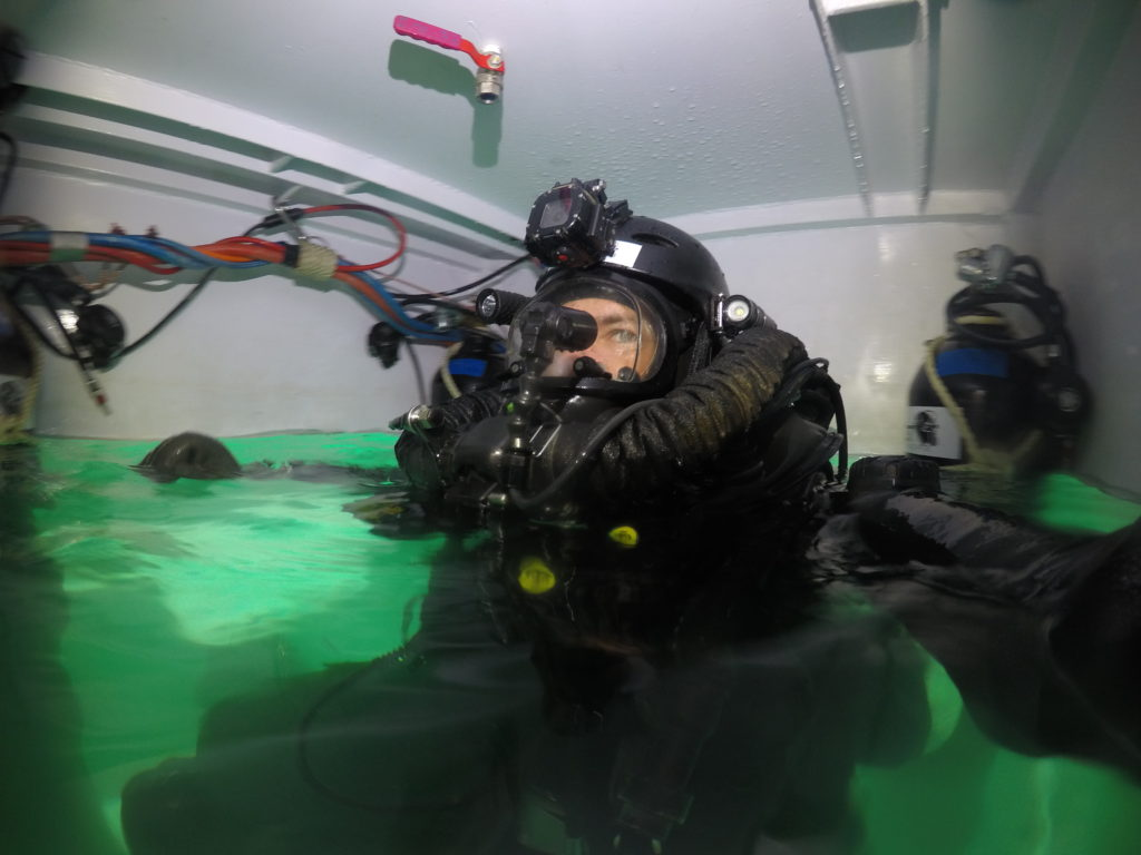 CCR diver at 100 mtrs
